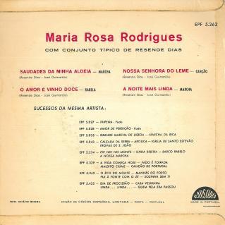 Mª Rosa Rodrigues capa contra capa